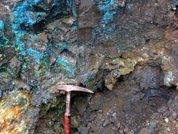 Blue copper sulphates on massive sulphides, Kukes, Albania