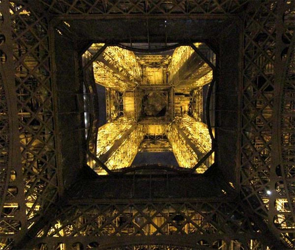 The Eiffel Tower at Night, from below